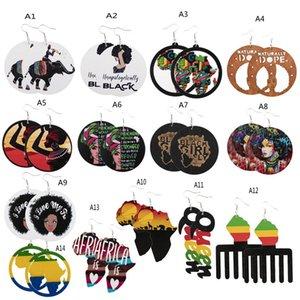 패션 나무 귀걸이 아프리카 초상화지도 귀걸이 흑인들이 매우 중요한 국가 매력 귀걸이 파티 호의 12 o2