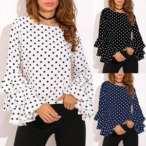 4xl 3xl 5xl Plus Size Tunics Women Shirt Polka Dot Ruffle Blouses Long Sleeves O neck Elegant Ladies Casual Office Tops Female
