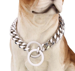 15mm Dogs Training Choke Chain Collars For Large Dogs Pitbull Bulldog Strong Silver Gold Stainless St jllyPB lajiaoyard