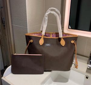 Bolsa de compras de mulher de alta qualidade bolsa de couro bolsa nova moda bolsa de ombro número de série Código de data saco das mulheres + saco pequeno sacolas casuais