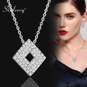 SINLEERY Elegante Rhombus Halskette Silber Farbe Kette Voll KubikZircon Gepflasterte Strass Halskette Frauen-Schmucksachen XL192 SSH