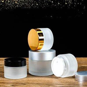 5g / 5 ml 10g / 10 ml lüks kozmetik saklama konteyner kavanoz yüz kremi dudak balsamı buzlu cam şişe tenceresi kapak ve iç ped 367 n2
