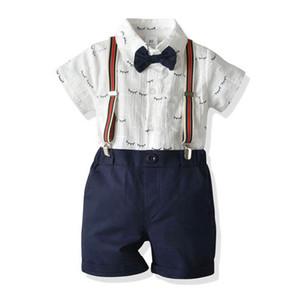 2020 Yeni Yaz Bebek Erkek Suits Yenidoğan Kıyafetler Papyon Kısa Kollu + Askı Şort 2 adet / takım Erkek Bebek Giysileri Toddler Suits Perakende B285