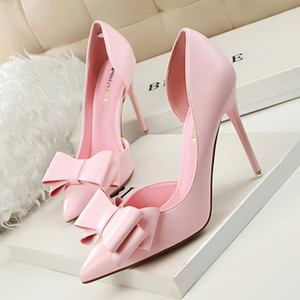 Hot Sale-ZHENZHOU Pumps 2019 Fashion show sweet bow high heels stiletto high heel shallow mouth pointed side hollow shoes Women