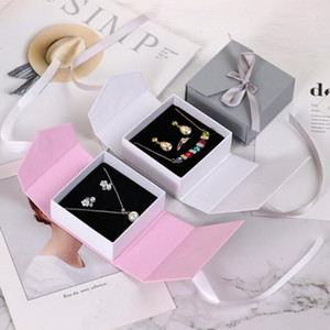Jewelry gift Boxes Paper Multicolor Ribbon Bowknot For Gift Necklace Earring Set Packing Display 8*8.3*3.5cm, 1 Piece
