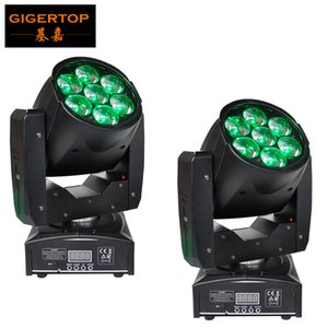 Freeshipping 2PCS Professional LED ZOOM Wash Light Beam Moving Head Light 7X12w Stage Lights RGBW 4in1 Sound Control 90V-240V