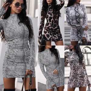 Explosion Long Sleeve Standing Collar Dress 2020 New Women Snake Leopard Print Bodycon Dress Autumn fashion Sexy Party Dresses
