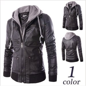 Foreign trade autumn clothes new men's foreign trade Slim hooded fake two pieces of men's motorcycle leather jackets
