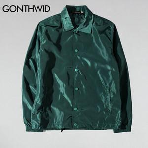 Gonthwid But Tour Vestes Vestes HIP HOP HOP Couleur Solid Manteaux Manteaux Manteaux Masculin Casual Windbreaker Streetwear 201118