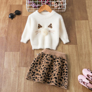 Kids Gilrs Dress Long Sleeve Autumn Winter Children 2pcs Outfit Christmas Clothes Set For 1-5Yrs Girls Suit