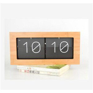 wholesale-bamboo bell automatically flip clock table clock creative living room wall clock retro minimalist modern wood clocks
