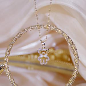 14k Real Gold Feminia Cute Bear Short Necklace for Women Shine Zircon Choker Birthday Gift Wedding Jewelry Pendant
