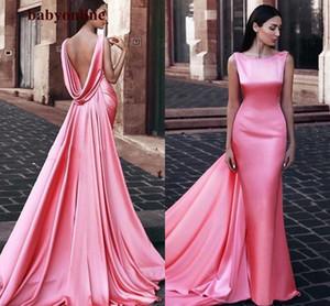 Abiti da sera formale della sirena 2021 Scoop backless Medio Oriente Donne Abiti da sera con Waps Watermelon Abiti da pranzo rosa