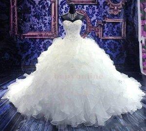 Lüks Boncuklu Nakış Balo Gelinlik Prenses Kıyafeti Korse Tatlım Organze Ruffles Katedrali Tren Gelinlikler Ucuz