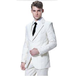 Tailor made mens suits white men wedding tuxedos suit fashion handsome groom best man prom dress suits (jacket+vest+pants)
