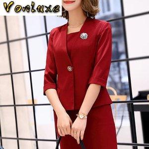 Костюмы офис женской одежды Работа Формального Бизнеса 2 Piece Set Plus Size Elegant Designs весна осень Blazer Tops платье WomenF7
