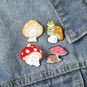 Mushroom Enamel Pin Custom Cat Frog Hedgehog Brooches Shirt Lapel Bag Cartoon Cute Animal Badge Jewelry Gift for Kids 210103.