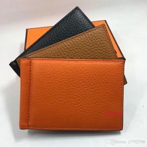 Titular de cartão de crédito de couro real Carteira Moda Mulheres Cartão de ID de Negócios Caixa de Caixa de Caixa de Alta Qualidade Homens Slim Wallet com Metal Dinheiro Clip 7 Cores