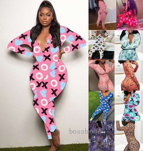 Mulheres Jumpsuits Nightwear Valentines Presente Skinny Bodysuit Impresso Manga Longa V-pescoço Pijama Onesies Plus Size Romper Designers Roupas 819