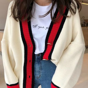 Women Autumn v neck patchwork cardigan sweater coat white loose plus size long sleeve pull femme jersey knitted tops V191130