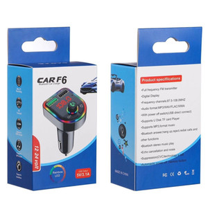 C12 C13 F5 F6 Car Bluetooth 5.0 FM Transmitter Wireless Handsfree Audio Receiver Car MP3 Player RGB light USB Type-c Charger