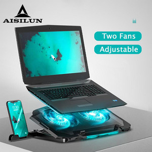 Gaming PC Adjustable Laptop Cooler USB Mute Laptop Cooling Pad Support Notebook Stand With Dual Fan For Pro Phone Holder