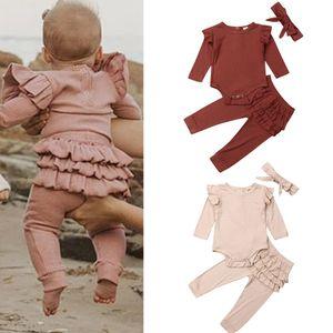 Kids Ruffle Clothing Sets Ruffle Long Sleeve Top Skirt Pants Bow Headband 3pcs set Outfits children Clothes Girl Elastic Band Pants DHL