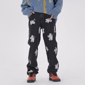 Patch Print Jeans for Men's Street Hip-hop Slacks