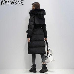 Aşağı Coat Kadın Puffer Ceket Kadınlar Parka Kalın Duck AYUNSUE Kadın Down Ceket 2020 Kış Rakun Köpek Kürk Yaka Uzun Beyaz