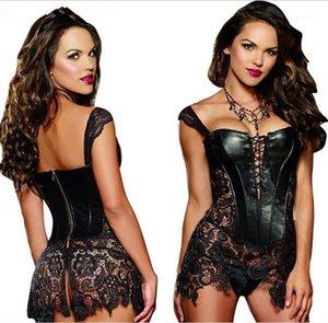 Bustiers Corsets S-6XLPLUS Boyutu Sexy Lingerie Kadınlar Siyah Faux Leatherlace Burlesque Steampunk Korse Elbise Bel Gotik Büstiyer Korse1