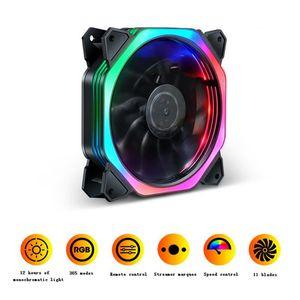 120mm Bunte RGB-LED-Lüfter Computer PC Host-Chassis Cooler Fans mit 11 Lüfterblättern Flüsterleise