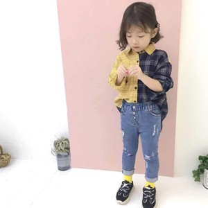 Children Patchwork Color Plaid Shirt 2020 Fall new girls lapel long sleeve shirts kids cotton casual tops A3281