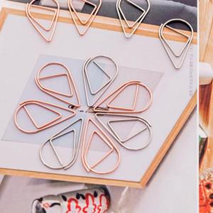 1 set = 10 pezzi in plastica forma di caduta di carta clip oro argento oro colore divertente kawaii bookmark office shool cancelleria marcatura clip DHF2828