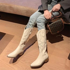 Winter Women Boots High Tube Western Boots Pointed Toe Square Heel Side Zipper Embroidery Decoration Simple Women's