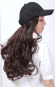 Long Synthetic Baseball Cap Wig Natural Black   Brown Straight Wigs Naturally Connect Synthetic Hat Wig Adjustable For Girls 201015