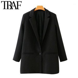 TRAF Women Fashion Office Wear Single Button Blazers Coat Vintage Long Sleeve Pockets Female Outerwear Chic Tops1