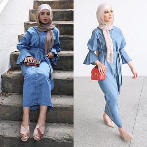 Etnik Giyim Denim Kaftan Dubai Abaya Kimono Müslüman Hijab Elbise Abayas Kadınlar için Robe Kaftan Marocain Katar Türk Elbise İslami