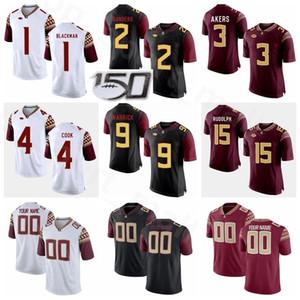 Florida State Seminoles NCAA College Football Jersey 1 James Blackman 2 Deion Sanders 3 Cam Akers 4 Dalvin Cook Travis Rudolph Negro Rojo