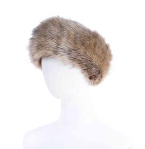 High quality 10 colors Womens Faux Fur Headband Luxury Adjustable Winter warm Black White Nature Girls Earwarmer Earmuff
