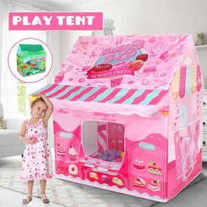 Kids Play Game House Tente Jouets Dinosaur rose crème glacée fille de garçon Princesse Castle Portable Intérieur Extérieur Enfants Jouer Tente Maison 1020