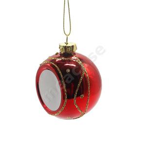 Blank Sublimation Weihnachtskugeln Thermal Weihnachtsbaum Kugel Glossy Glänzend Hanging Ball Hitze-Druck-Flitter-Party-Ornamente Dekoration F102204