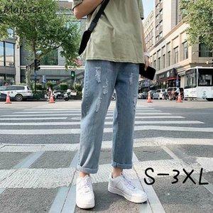 Männer Jeans Männer Loch Knöchellangen Übergröße S-3XL Button Blaue Vintage Baggy Denim Männliche Hose entworfen Ulzzang Hip Hop Chic 1