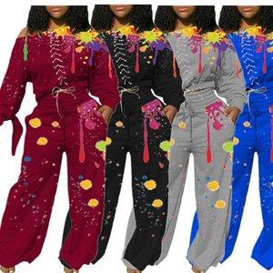 Women Splash Ink Tracksuit Graffiti Streetwear Wide Legs Pant Outfit Casual Long Sleeve Off Shoulder Tops T-shirt Trousers Suit D102806