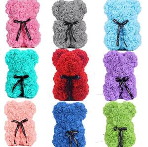 Розовый плюшевый мишка новый день Святого Валентина подарок 25см цветок медведь искусственное украшение рождественский подарок для женщин Valentines подарок SN2281