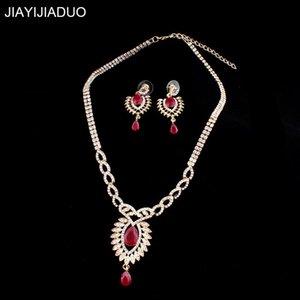 Juego de joyería de Jiiayijia Juego de joyas de oro Collar de color Detizado para las mujeres Red / Resina incrustaciones retro elegante accesorios