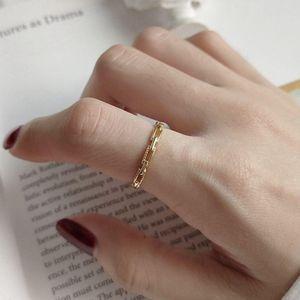 Silvology Argent 925 boucle carrée anneaux minces d'or ajourées Texture Chic Bagues de femmes 2020 Argent 925 filles Bijoux
