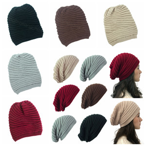 Women's Winter knitted Hat Fashion Knitted Hats Solid Warm outdoor Bonnet Skullies Beanies Soft Unisex Casual Beanie pile cap FFA4466-8