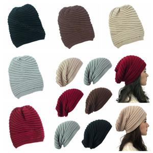 Inverno delle donne lavorato a maglia cappello di moda Stoffe Cappelli Caldo Solid all'aperto Bonnet Skullies Berretti morbido unisex informale protezione di mucchio Beanie FFA4466-8