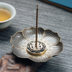 Alloy Incense Burner Dish Creative Plum Blossom Incense Burner Stand Stick Holder Portable Ash Catcher Tray (Aeneous)