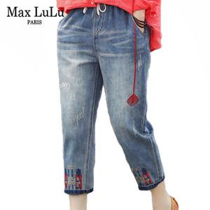 Max LuLu 2020 Mode-Sommer-Damen Ripped lose Jeans-Frauen-beiläufige Stickerei Denim-Hose Weinlese weibliche elastische Harem-Hosen C1008